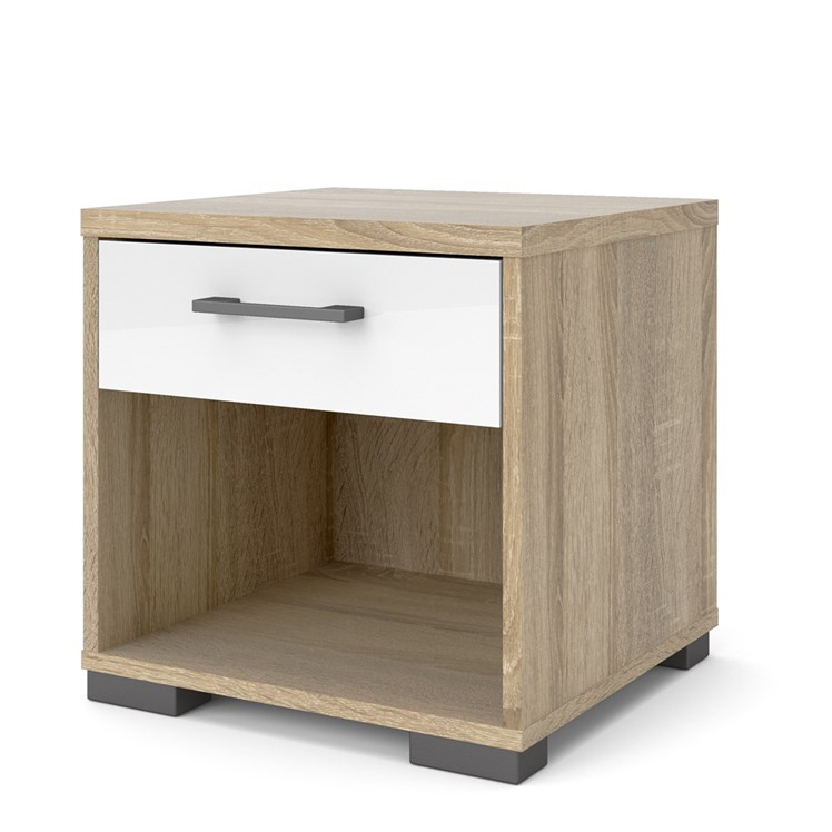 Homeline Nigthstand Oak structure White high gloss