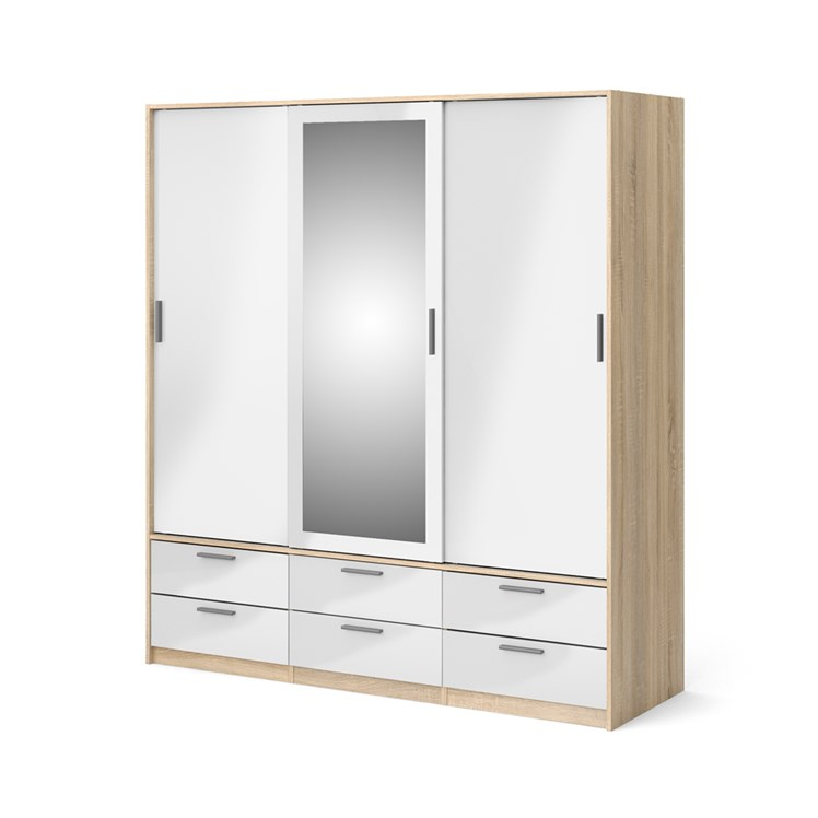 Line Wardrobe with 3 doors + 6 drawers