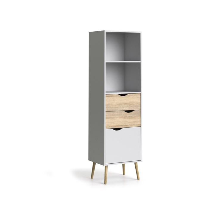Oslo Bookcase 2 drawers + 1 door